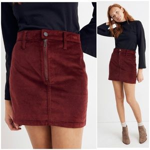 Madewell Stretch Velveteen Straight Zip Mini Skirt